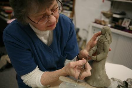 photo of S. Virginia Matter OSB in pottery studio